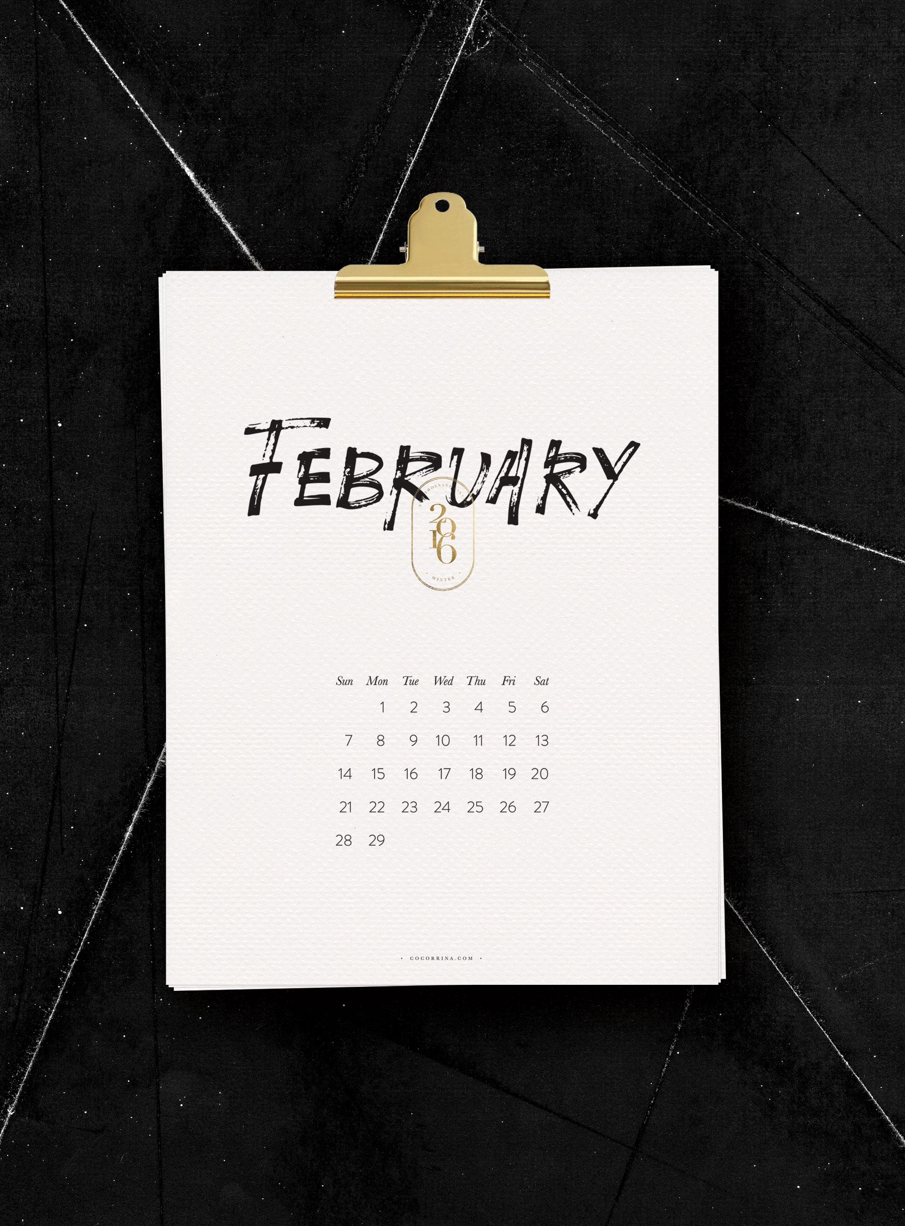Darmowe kalendarze na 2016 rok do pobrania i wydrukowania czern i biel