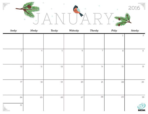 Darmowe kalendarze na 2016 rok do pobrania i wydrukowania kolorowe