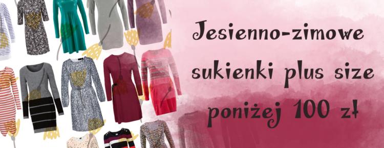 jesienno zimowe sukienki plus size ponizej 100 zl stu zlotych