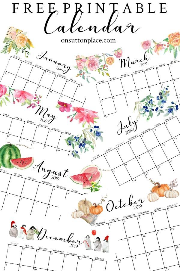 23 kalendarze na rok 2019